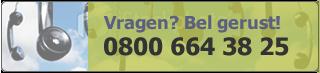 Vragen? Bel ons gerust 0800 664 38 25